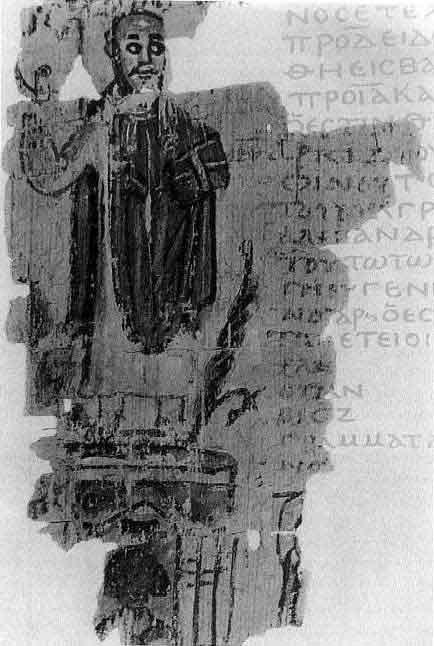 Theophilus was sinds 385 patriarch van Alexandrië. Deze 5e eeuwse rol illustreert de verwoesting van het Serapeum in opdracht van Theophilus