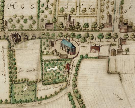 Uitsnede van kaart met het dorpscentrum van Heemstede, 1627