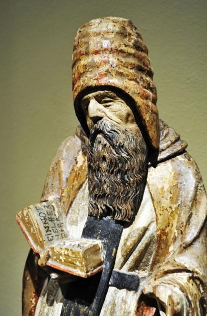 Heilige Antonius (detail). Gotische periode Spanje. Tegenwoordig in Cincinnati Art Museum