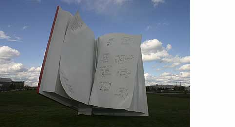 'The Book'; book steel sculpture by Ilan Sandler, Toronto, Canada