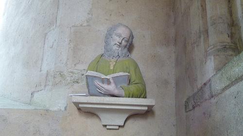 Borstbeeld van een persoon, vermoedelijk 18e eeuw, in: kerk van Saint-Pierre-de-Bolleville, Frankrijk