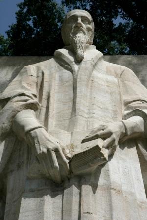 Standbeeld van Johannes Calvijn op de muur der Reformatie in Genève