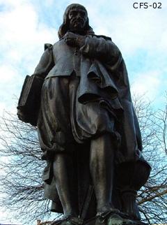 Beeld van de wijsgeer René Descartes in Den Haag