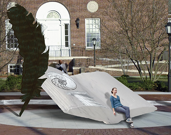 Title of this book in white granite is: 'Wings of Thought', designed by sculptor Richard Deutsch. Located near Morris Library, University of Delaware.