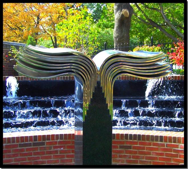 Bookish statue at Drexel University's Garden