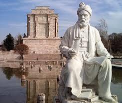Firdusi ofwel Ferdowski (940-1020), Perzisch dichter. Verbeeld voor zijn mausoleum in Tus, Iran