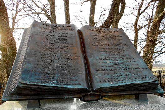 Monument in herinnering aan slachtoffers Amerikaanse Burgeroorlog High Water Mark, Gettysburg, Pennysvania.