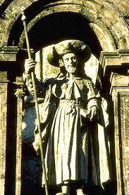 St. Jacobus boven de heilige poort van de kathedraal van Santiago de Compostela