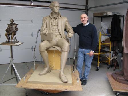 President Jefferson. Bronzen beeld vervaardigd door beeldhouwer Anthony Frukadis