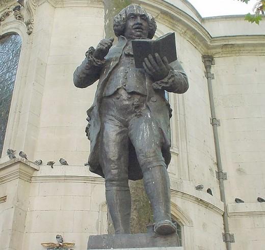Samuel Johnson (1709-1784), Engels lexicograaf, dichter, essayist. Beeld nabij Clemment Danes in Londen (Lonpicman)
