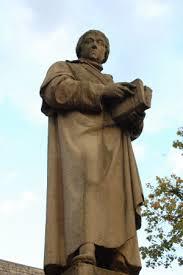 Standbeeld uit 1865 van Gabriel Mudaeus (1500-1560), Belgisch humanist, in Brecht