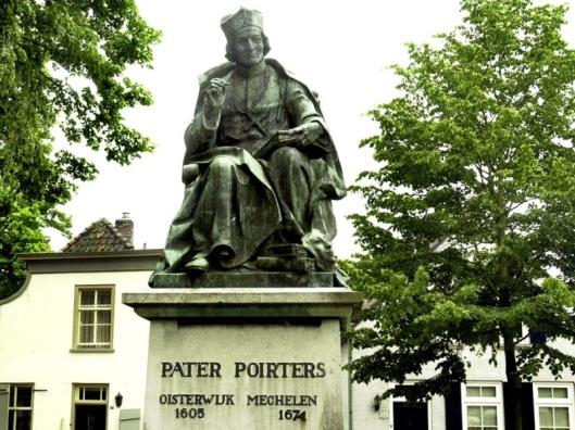 Pater Adriaen Poirters, letterkundige. Oisterwijk, Kerkplein, door Ab de Beule, 1926. Opschrift: Pater Poiters, Oisterwijk 1605 Mechelen 1674