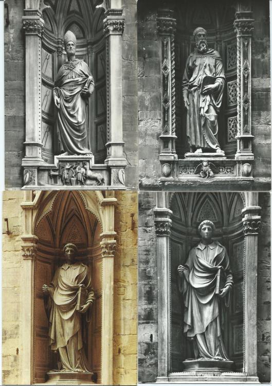 Florence, Chiesa di Orsammichele. Linksboven St. Eligius, rechtsboven St.Marcus, onder St.Stefanus