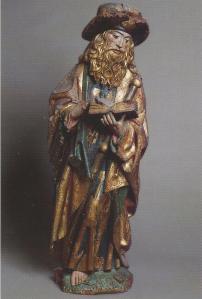 Pelgrim maar Santiago de Compostela. Beeld in de kathedraal van Asdtorga