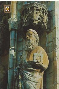 Girona: detail van 1 van de 12 apostelen, 15e eeuw