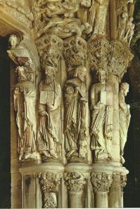 Groep apostelen in de kathedraal van Santiago de Compostela, Spanje