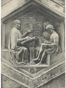 Florence: toren van de Dom. Les in grammatica door Luca della Robbia