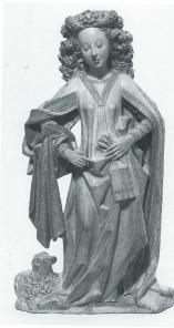 Kalkstenen beeld van de heilige Agnes uit de tweede helft van de 15e eeuw, gemaakt in Utrecht.  Agnes die de marteldood stierf in Rome tijdens de Romeinse christenvervolgingen draagt een bijbel in een foedraal