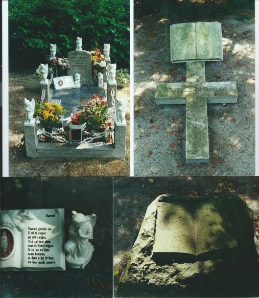 Enkele graven met een boekvorm op de Begraafplaats Heemstede. Linksboven en linksonder graf van Sophia Grunholz; rechtsboven een Latijns kruis en opengeslagen boek met Bijbeltekst; rechtsonder bij graf Frederik van Heel