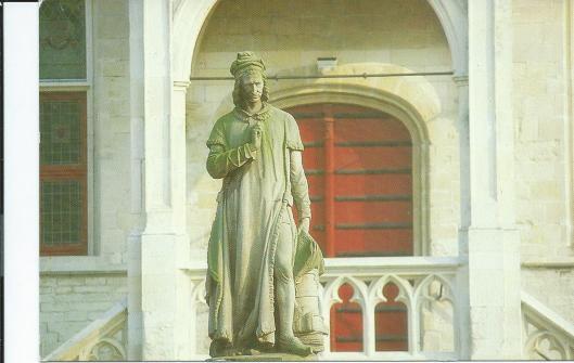 Beeld van Jacob van Maerlant (1235-1300) in Damme nabij Brugge