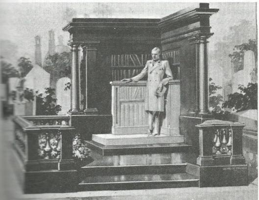 Bibliofiel postuum met versteende boekenkast