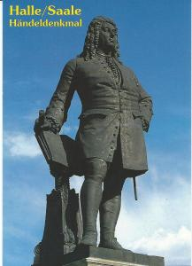 Standbeeld van de in 1685 in Halle (aan de Saale) geboren componist Georg Friedrich Händel
