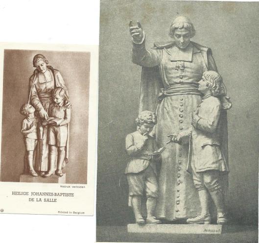Jean-Baptiste de la Salle, pedagoog en congregatiestichter Broeders van de Christelijk Scholen. Links: beeld in België (Lembeek?); rechts: sculptuur in de Sint Peterskerk re Rome