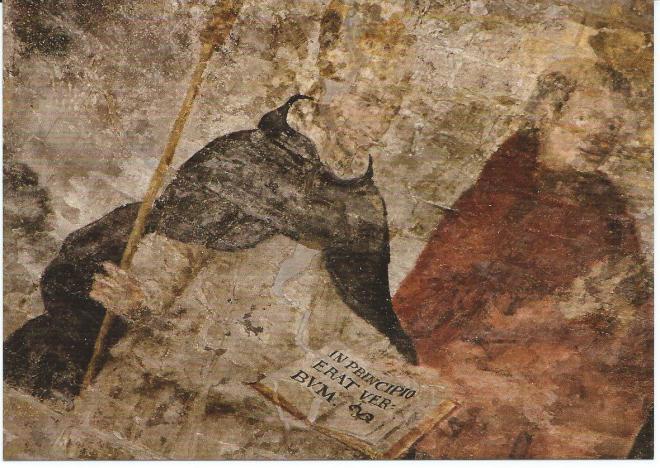 Bisschop met evangelie van Johannes. 15de eeuw. Fresco in vm. Dpminicanenkerk, thans Boekhandel Dominicanen Maastricht