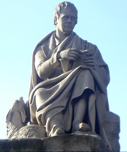 Monument voor Schots romanschrijver/dichter sir Walter Scott (1771-1832) in Edinburgh. Vervaardigd door sir John Steell uit wit marmer (Wikipedia)