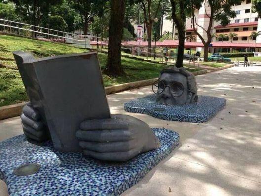Merkwaardige sculptuur in Holland Village, Singapore