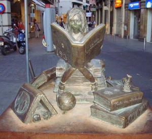 Een meisje dat leest ter ere van Clara Campoamor (1888-1972), een Spaanse politica en feministe, vanwege haar bijdrage voor de vrouwenemancipatie