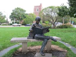 Reader statue at Wilmette Public Library, USA
