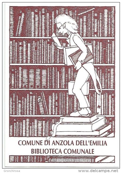 Promotiekaart bibliotheek Anzolo Emilia, Bologna, 1990