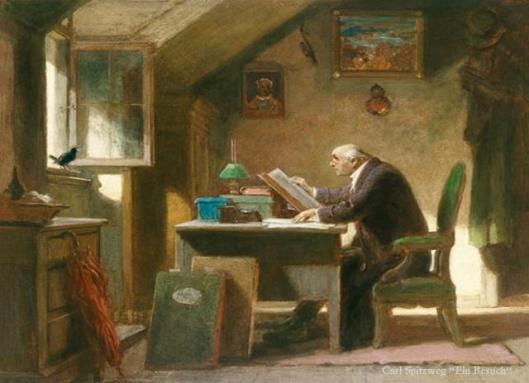 'Besuch' door Carl Spitzweg, circa 1850. Schilderij in museum Georg Schäfer, Schweinfurt