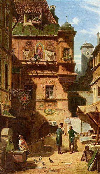 Titel van dit schilderij van Carl Spitzweg uit circa 1880 is 'Kunst und Wissenschaft' . Afgebeeld wordt een boekhandel in de openlucht. Het doek bevindt zich in een particuliere verzameling