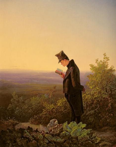 Het brevier lezend in de avondschemering. Schilderij van Spitzweg uit omstreeks 1839, thans in het Louvre, Parijs. Voor zover bekend bevindt zich geen werk van Carl Spitzweg in een Nederlands museum