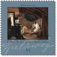 In 2008 geëmitteerde postzegel van 'der Arme Poet' door Carl Spitzweg bij gelegenheid van diens 200ste geboortejaar