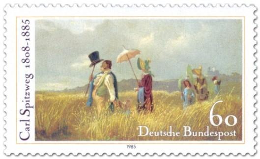 In 1985 door de Duitse Posterijen uitgegeven postzegel van 'een zondagwandeling' door Carl Spitzwg bij gelegenheid van diens 200ste