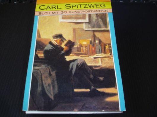 Boekje met 30 kunstkaarten van Carl Spitzweg. Op de voorzijde een lezende boekhandelaar