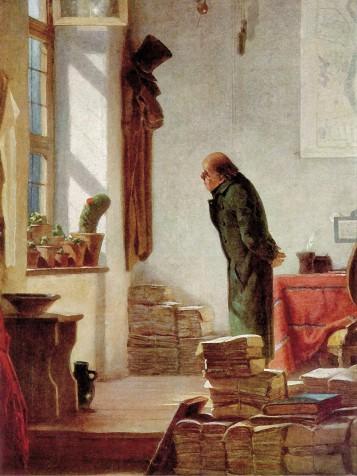 Het schilderij 'de cactusliefhebber' van Carl Spitzweg uit 1850 waarbij behalve boeken vooral stapels kranten zijn afgebeeld