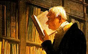 Detail van 'de Boekenwurm' door Carl Spitzweg