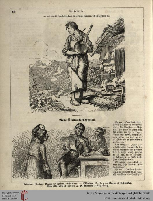 Twee illustraties van Carl Spitzweg uit 'Fliegende Blätter' (Universitätsbibliothek Heidelberg)