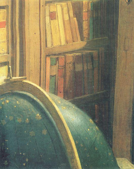 Detail op schilderij 'der Bücherwurm van de afgebeelde globe