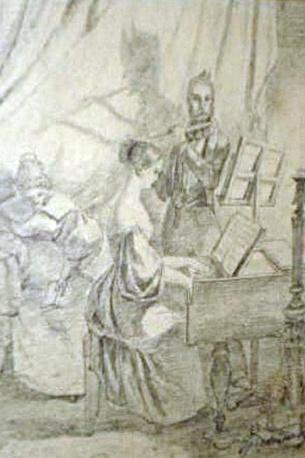 'Das Klavierspiel', tekening van Carl Spitzweg, als roofkunst geïdentificeerd in de collectie Gurlitt uit München