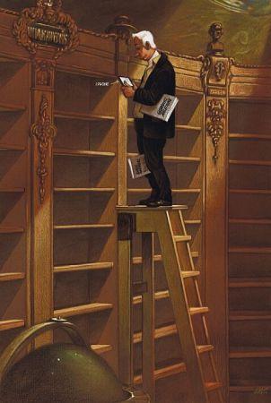 Een eigentijdse bewerking van de nieuwe bibliotheek zonder boeken door de Oostenrijkse karikaturist Gerhard Haderer (geb.1951). De boekenworm moet zich behelpen met een tablet.