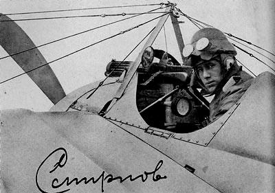 Een jonge Ivan Smirnoff achter de stuurknuppel van zijn vliegtuig