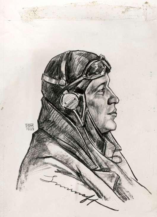 In 1927 vervaardigde de kunstenaar P.P.Koster deze tekening van KLM-piloot Iwan Smirnoff