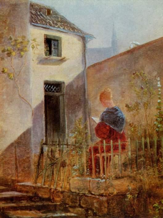 Lezende vrouw; door Carl Spitzweg