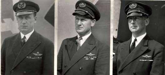 3 van de 8 KLM-miljonairs van de lucht (in kilometers). V.l.n.r. Smirnoff, Van Rijn en Frijns (Het Leven, 1934)