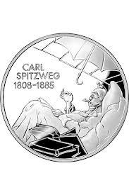 In 2008 uitgegeven zilveren 10 Euro munt met een voorstelling van 'de arme dichter'